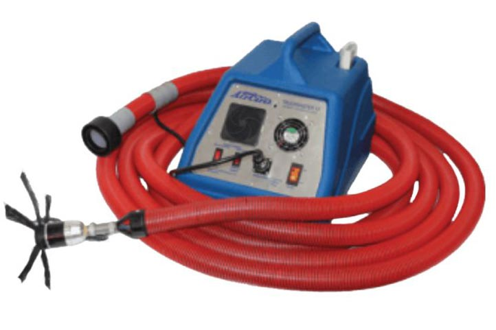 blue air duct cleaner with red hose
